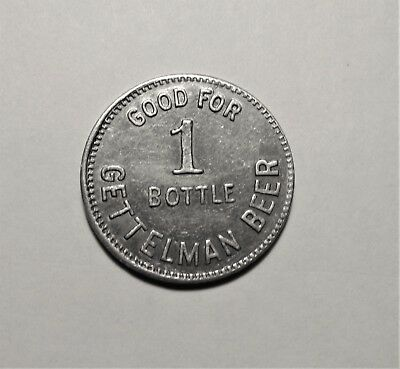 GETTELMAN BEER good for 1 bottle distributor 1950's token  MILWAUKEE, WISCONSIN