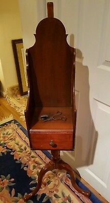 Antique Federal Pedestal Candle Box Stand.