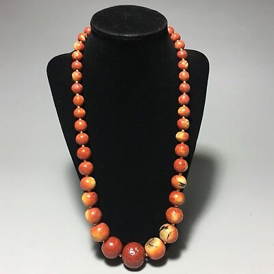 Chinese Apple Coral Graduated Bead Necklace