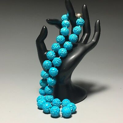 Chinese Turquoise Stone Carved Shou Bead Hand Knotted Necklace 19 Inch 116 Grams
