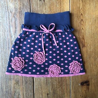 Lia Molly Toddler Girls' Size 2T Knit Skirt Blue Pink Floral Cotton Blend