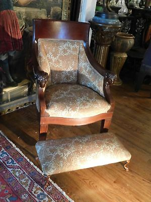 Late 1800's Heavy Carved Sheep Arms Figural Chair Claw Feet and Footstool