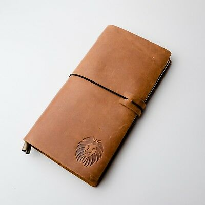 KangWay Genuine Leather Journal Refillable Traveler Notebook with Card Holder Vi