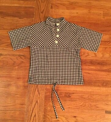 Vintage 1960S Black And White Checked Short Sleeve Top Women's Small
