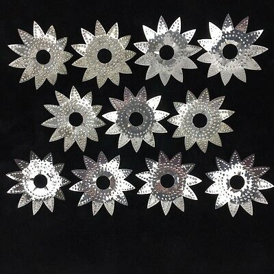 11 Vintage Diamond Ray Light Reflector Christmas 1930 Punched Metal C6 C7 Lights