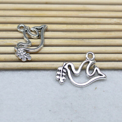 Free Shipping 30pcs 14x19mm Ancient Silver Exquisite Cute Bird Charm Pendant
