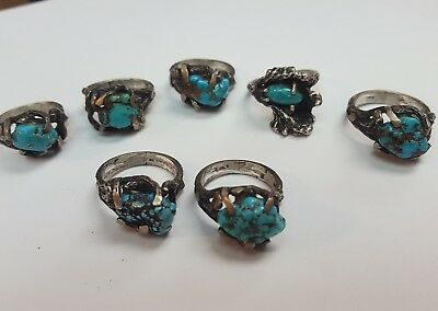 Vintage Lot of 7 Sterling Silver 925 and Turquoise nugget Rings