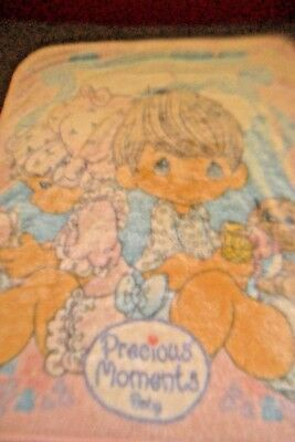 "PRECIOUS MOMENTS BABY BLANKET LUX LUXE PLUSH THROW 55"" X 40"" boy girl dog"