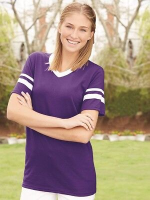 Augusta Sportswear - V-Neck Jersey with Striped Sleeves - 360