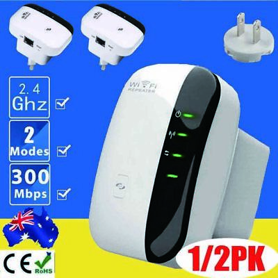 300Mbps 802.11 Wifi Repeater Wireless-N AP Range Signal Extender Booster AU POST