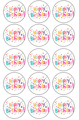 Happy Birthday Edible Image Cupcake Toppers15 Pack 5cm #38