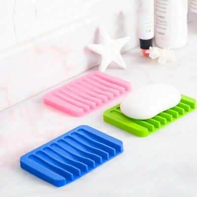 Soap Dish Anti-slip Draining Case Silicone Holder Tray Bathroom Soapbox Storage