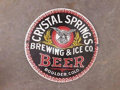 """Porcelain Crystal Springs Beer Enamel Sign Size - 12"""" Inches Round"""