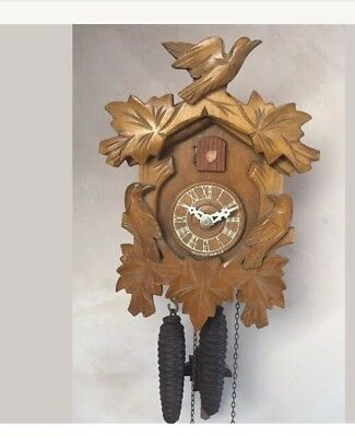 "German 2 Weights Driven Carved Wood Case Cuckoo Clock GWO 9.5"" L7.5""W"