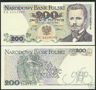 Poland 200 Zlotych P144 1988 Woman Standing On Wall Unc Polish Currency Banknote