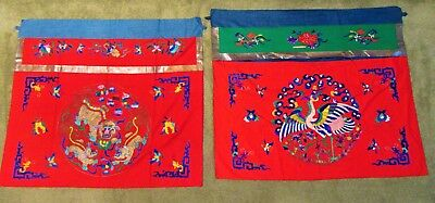 2 Antique Oriental Chinese Embroidery textiles Wedding banners  gold thread