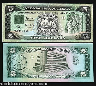 Liberia 5 Dollars P20 1991 Ship Sun Tree Unc Africa Currency Money Bill Banknote