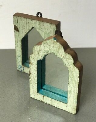Antique/vintage Indian, Small Pair Arched Temple Mirrors.  Two-Tone, Pale Lime.