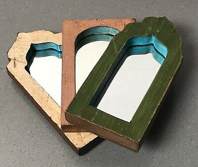 Antique/vintage Indian, 3 Small Arched Temple Mirrors. Sage, Pink & Vanilla.