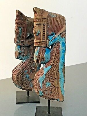 ANTIQUE / VINTAGE INDIAN WOODEN HORSE HEAD SCULPTURE on STAND. TURQUOISE & BLUE.
