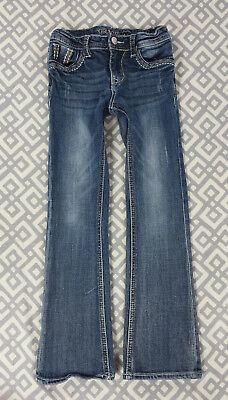 Girls Grace in LA Bootcut Embroidered Stone Wash Blue Jeans Denim Pants Sz 6 6X