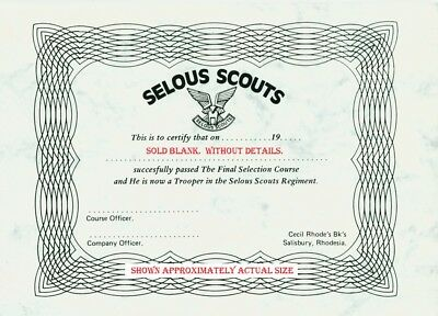 RHODESIAN SELOUS SCOUTS SELECTION CERTIFICATE SOUTHrn AFRICAN SPECIAL FORCES
