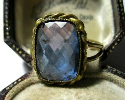 Antique Victorian Vauxhall Glass CUFF RING Beautiful Vintage Costume Jewellery