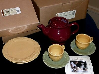 New Longaberger Woven Traditions Child's Tea Party Pottery Sample Set w/Extras