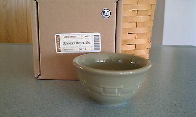 Longaberger Pottery Dessert bowls set/2 Sage green Woven Traditions NEW in box