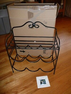 New in Box Longaberger Wrought Iron Metalwork Tabletop Wine Rack Stand