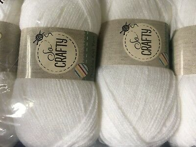 New Soft 400 Gms Of  Pure White Double Knittimg Wool
