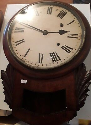 Antique Victoria Mahogany Station Wall Clock spares or repair