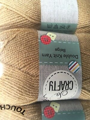 New 400 Gms Of Soft beige / Biscuit Fouble Knitting Wool