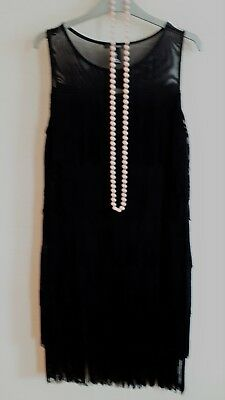 """SIZE L BLACK FRINGED """"FLAPPER 20s STYLE SEXY PARTY DRESS BNWT"""