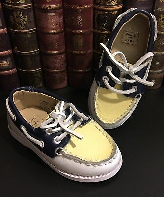 Janie and Jack Toddler Boys & Girls 3-Tone Leather Loafers Boat Shoes Sz. 7