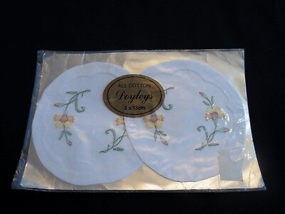 Pair of Small Embroidered Doilies - New Old Stock in Original Packaging