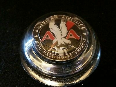 Vintage Style American Airlines Glass Paperweight ..Nice.Handcrafted by Artist
