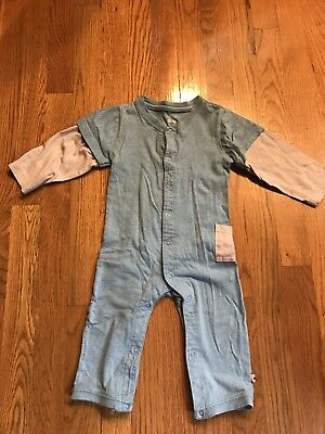 Babysoy Boys Blue and Gray One-Piece Romper Size 12-18M