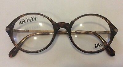 NOS VINTAGE ART DECO COLLECTION Logo,Paris ROUND TORTOISE EYEGLASSES FRAME NEW