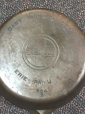 "Vintage Large Logo ""GRISWOLD"" Cast Iron No. #8 Frying Pan Skillet Erie PA 704 S"