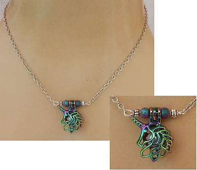 Unicorn Necklace Pendant Bead Cage Jewelry Handmade Chain Women Multi Color