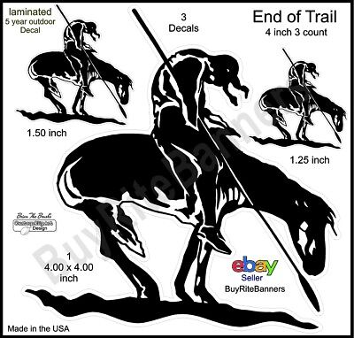 End of Trail Native American Decals, 4 Inch, 3 Count. High Quality