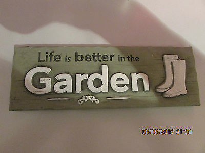 "LATEX MOULD OF GARDEN PLAQUE "" Life is better in the GARDEN"" 25cms x 8cms x 1cm"