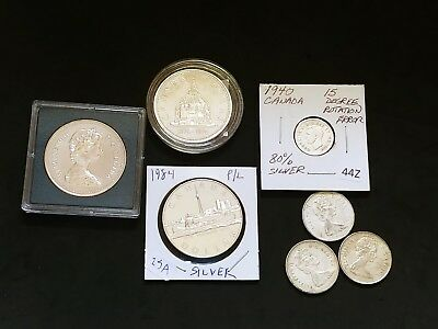 Canadian Silver Coins Lot 3 One Dollar 3 Quarters And 1940 Dime