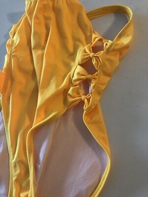 Yellow 80s sz 14 Vintage Swimsuit RETRO High Cut Maillot Tank Suit DEADSTOCK NEW