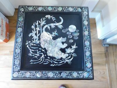 Matched Pair of Asian Tables Black Lacquer Inlaid Mother of Pearl Cats