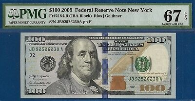 **UnCommon First Series** Fr.2184-B 2009 $100 Federal Reserve Note PMG 67EPQ