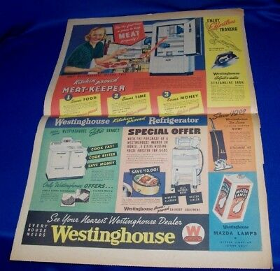 Large Westinghouse Refrigerator Stove & Washer Color ad 1938 Art 15 1/4 x 21 1/2