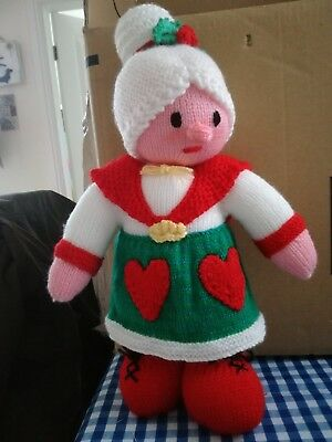 Brand new hand knitted toy mrs christmas