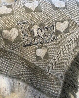 Personalised Name Grey Heart Baby Shawl / Blanket - Embroidered Gift - Any Name